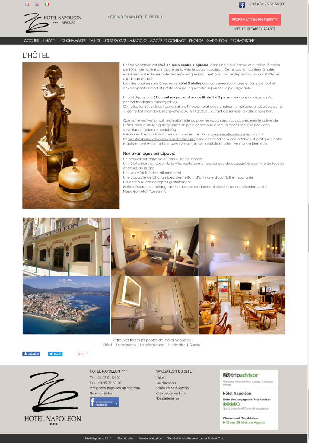 Découvrir le site de l'hôtel Napoléon